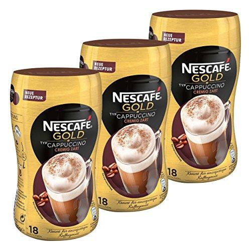 Nescafé Gold Typ Cappuccino, Cremig Zart, Löslicher Bohnenkaffee, Instantkaffee, Kaffee, Dose, 3 x 250 g, 12311730