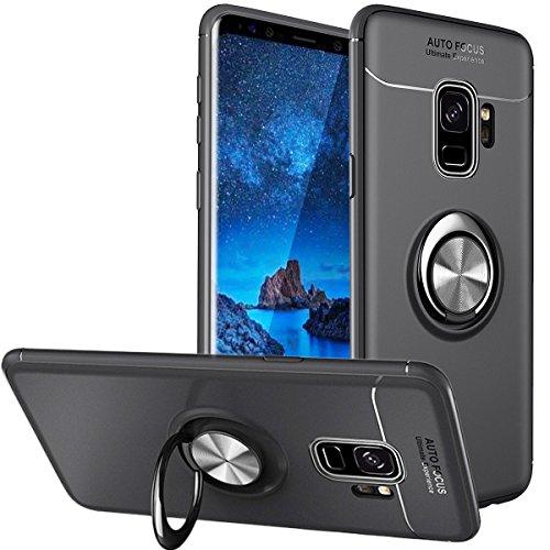 WATACHE Custodia Galaxy S9 Plus, Supporto per Impugnatura Anello in Metallo Cavalletto Custodia Protettiva Sottile in TPU con Supporto Supporto Magnetico per Auto per Samsung Galaxy S9 Plus(Nero)