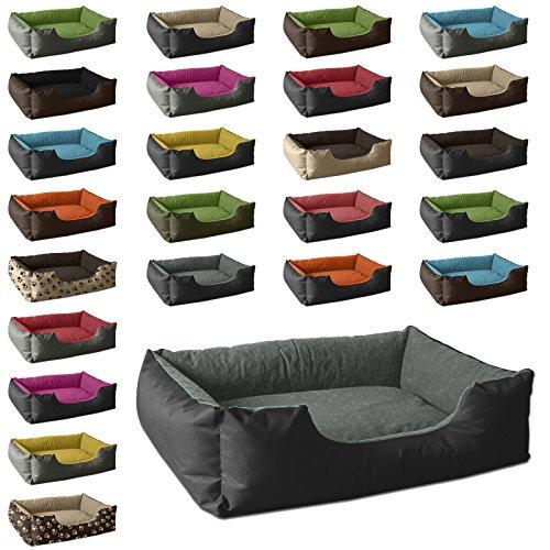 BedDog Hundebett LUPI/Hundesofa aus Cordura & Microfaser-Velours/waschbares Hundebett mit Rand/Hundekissen Vier-eckig/für Drinnen & draußen/XL / The-Rock/schwarz-grau - 2