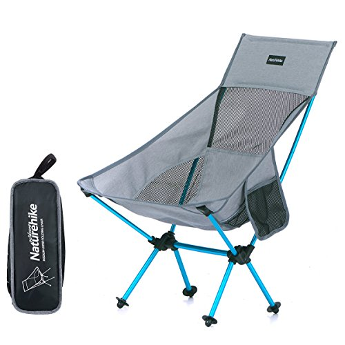 Azarxis アウトドアチェア 折りたたみ椅子 ラウンジチェア 超軽量 コンパクト収納バッグ お釣り 登山 バーベキュー キャンプ用 (グレー)