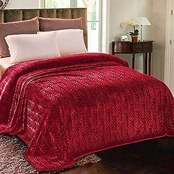 Whale Flotilla Flannel Fleece Queen Size 90x90 Inch  Lightweight Bed Blanket Soft Velvet Bedspread Plush Fluffy Coverlet Palm Leaves Design Decorative Blanket for All Seasons Red