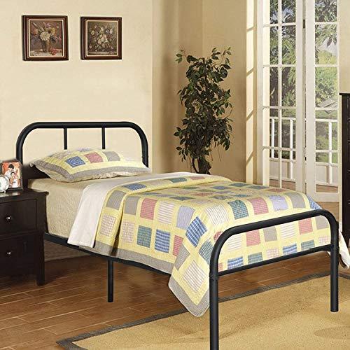 Voilamart Marco de cama de metal individual, marco de cama de 91 cm con cabecero y estribo de cama sólido con gran espacio de almacenamiento (negro)