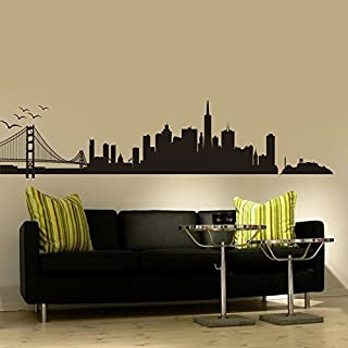 San Francisco City Skyline Silhouette Wall Art - Bay Bridge Wall Decal Custom Vinyl Art Stickers for Homes Decor Dorm Interior Decor (16'' x70'',Black).