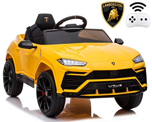 Rock Wheels Licensed Lamborghini Urus Ride On Truck Car Toy, 12V Battery Powered Electric 4 Wheels Kids Toys w/ Parent Remote Control, Foot Pedal, Music, Aux, LED Headlights, 2 Speeds (Yellow)