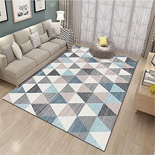 """alfombras Infantiles Grandes Sala de Estar Alfombra Rectangular Patrón de triángulo geométrico Azul Gris Beige Cuadros Juveniles Dormitorio Alfombra habitacion niña 160X200CM 5ft 3"""" X6ft 6.7"""""""