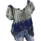 Riou 大きいサイズの緩いTシャツソリッドカラーVネック半袖シャツTシャツトップブラウスレディーストップス緩いレースカジュアルブラウス夏のシャツシャツブラウス (色 : アーミーグリーン, サイズ : L)