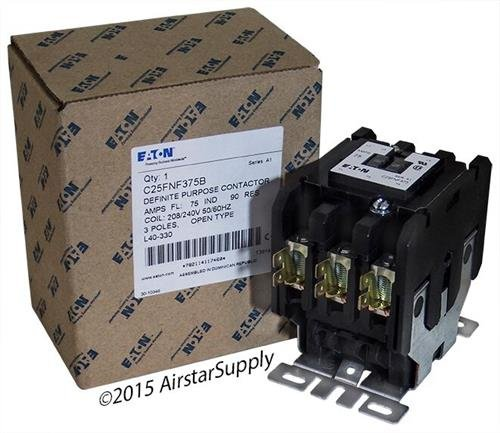 Replacement for Square D 8910DPA73V09 - Replaced by Eaton/Cutler Hammer C25FNF375B Contactor, 3-Pole, 75 Amp, 240 VAC Coil Voltage