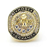 Dinobaby Men Diamond Titanium Steel 2016 Kobe Lakers Championship Rings Men's Rings, Size 9