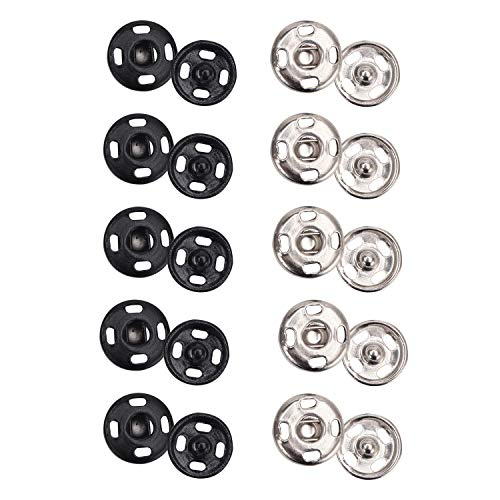 Senkary 200 Sets Sew-on Snap Buttons Metal Snap Fastener Press Studs Buttons for Clothing, 10 mm, Black and Silver