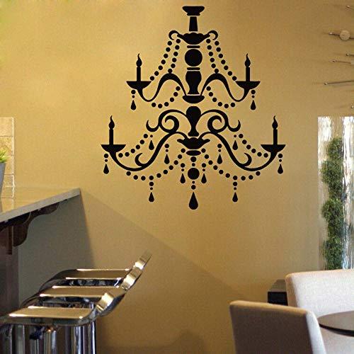 Gtfzjb kroonluchter vinyl muursticker vintage plafondlamp wandtattoo nieuw design licht kaars lamp behang huis decoratie kunst AY1014 57x63cm