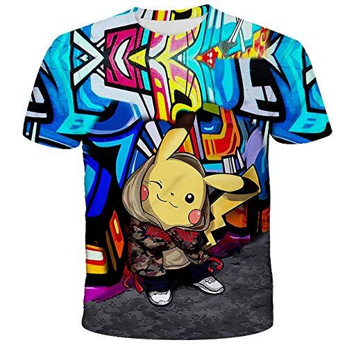 PERRTWDLF Tee Shirt Pikachu Manches Courtes Unisexe Impression 3D t-Shirt Pokemon Homme Femme été Anime Japonais drôle Chemise Adolescent sportswear-1102_130cm