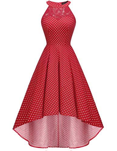 DRESSTELLS Damen 50er Vintage Rockabilly Kleid Neckholder Cocktailkleid Vokuhila Festliche Kleider für Hochzeit Red Small White Dot M