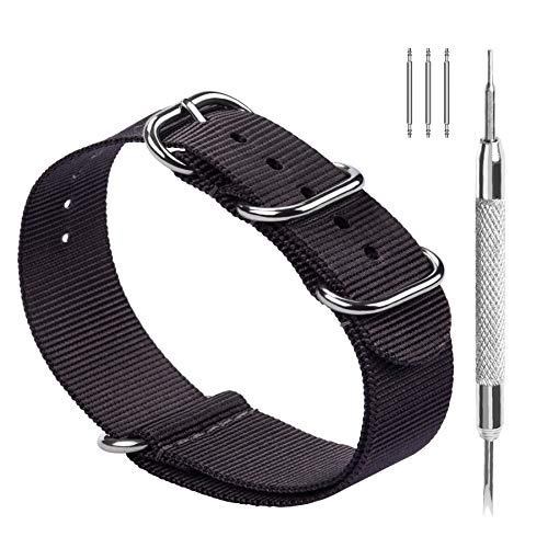 Fullmosa Nylon Zulu Correa para Relojes 18 mm 20 mm 22 mm 24 mm, Banda/Pulsera de Reloj de Nailon de Raya con Cierre Ajustable de Metal para Hombres Mujeres, 24mm Gris