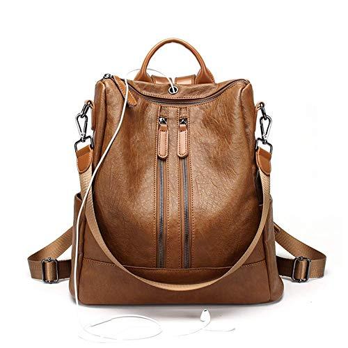 SHUIBIAN Rucksack Handtaschen Mode PU Leder Anti-Diebstahl Tagesrucksack Schultertaschen Schulrucksack (Braun02)