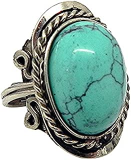 Natural Semi Precious Oval Shaped Gemstone Silver Rope Edge Adjustable Ring