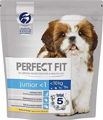 Perfect Fit hondenvoer, droogvoer, Junior <1 voor kleine en zeer kleine honden <10 kg voldoende aan kippen, 4 zakken (4 x 1,4 kg)
