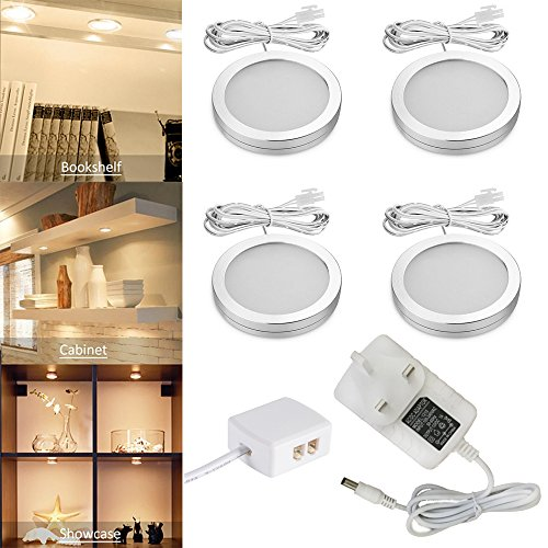 Set of 4 Under Cabinet Lights with Splitter and Adapter UK Standard Plug 12V Under Counter Lighting for Kitchen/Bookcase/Closet, Wardrobe Light, Cupboard Lights (Warm White)