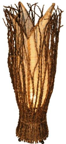 Guru-Shop Tischlampe/Tischleuchte `Flores`, in Bali Handgemacht aus Naturmaterial, Natur-weiß, Kokosfaser, Farbe: Natur-weiß, 70x20x20 cm, Tischlampen aus Naturmaterialien
