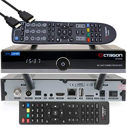 OCTAGON SF8008 4K UHD HDR Hybrid DVB-S2X & DVB-C/ DVB-T2 Hybrid Tuner HEVC Set-Top Box - Satellit, Kabel & terrestrische Signal, inklusive Zweitfernbedienugn, EasyMouse HDMI-Kabel & Dual WiFi