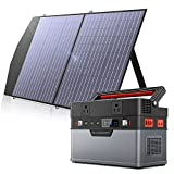 ALLPOWERS Mini Portable Power Station 500W,666Wh/110V/185200mAh Backup Battery Power Supply with Portable Solar Panel 100W, Foldable Solar Panel Charger for Home Use Camping Emergency