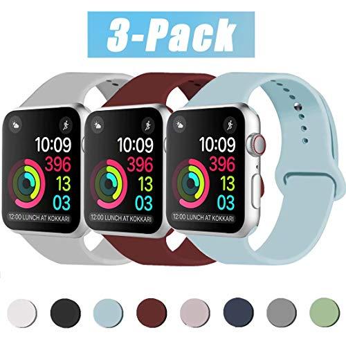 INZAKI Correa de Apple Watch 38mm 40mm 42mm 44mm, Reemplazo de Silicona Deportivo clásico Suave para iWatch Series 5/4/3/2/1, Nike +, Sports Edition, S/M, M/L