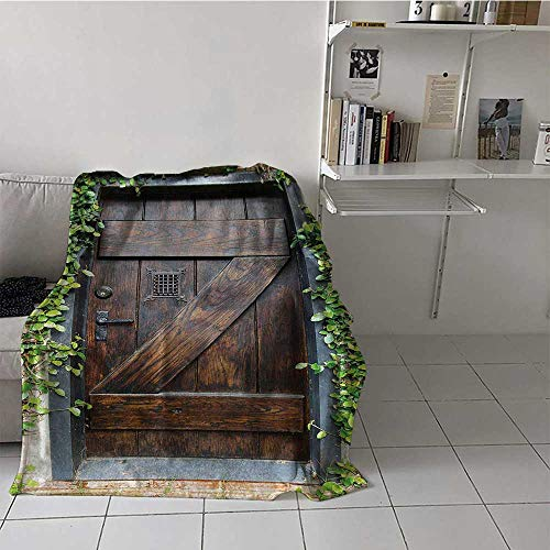 Soft Blanket Throw Rustic Decor Air Conditioner Blanket Small Spanish Style Dark Stained Wood Door Secret Garden with Grated Window Art Picture Best Gift for Women, Men, Kid, Teen 50x60 Inch