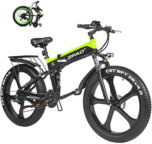 Nueva Bicicleta de montaña eléctrica, Bicicleta eléctrica Plegable de 26 Pulgadas de Nieve Fat Tire Bike 12.8Ah Beach Li-batería del Crucero de la montaña E-Bici , para Mujeres / Hombres Adultos