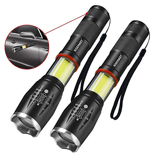RISEMART LED Taschenlampe mit Magnet, Superhelle 1000 Lumen Taschenlampen mit 6 Modi Wasserdicht Zoombar für Kinder, Camping,Notfall, Angeln und Wandern(2 Stück)