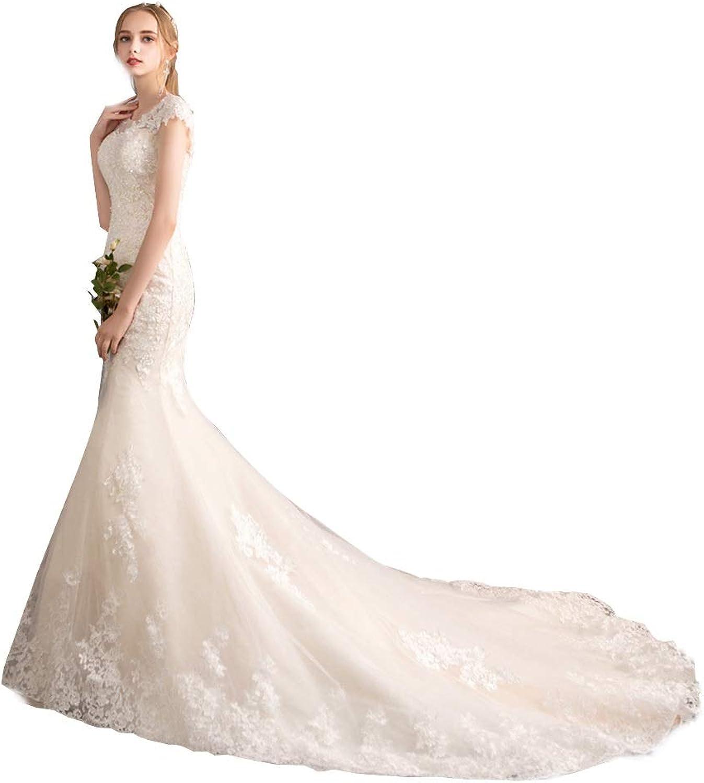 Women's Wedding Dress Wedding Dress Autumn and Winter Bride Bag Shoulder Waist Slimming Fishtail Tail Dream Wedding Wedding Dress (White) Ball Gowns Evening Dress (Size   XXXL)