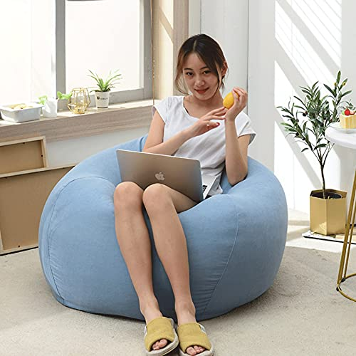 ZZNVS Bean Bag Lazy Sofa Cover, 100% Cotton Unfilled Bean Bag Cover, Removable And Washable, Suitable For Living Room, Bedroom, Office Bean Bag (no Filling) (Color : Sky blue, Size : Large)