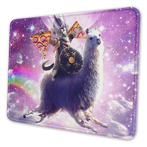 Galaxy Cat Eat Pizza Gaming Mouse Pad with Stitched Edge Premium-Textured Mat Non-Slip Rubber Base for Desktop Laptop Computers Keyboard Office 10×12 Inches