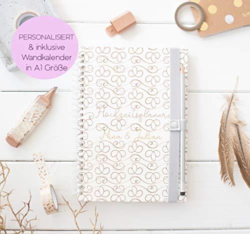 Hochzeitsplaner personalisiert - Hochzeitscheckliste - Deutsch - Wedding planer Classic Ellegance - Inkl. Wandkalender 2020/2021 in A1 Größe