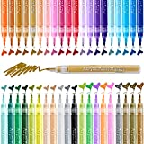 Paint Pens for Rock Painting Art, Ohuhu 40-color Acrylic Markers Pen for DIY Ceramic, Water-Based Acrylic Ink Painting for Porcelain, Metal, Wood, Fabric, Canvas, Paint Marker Back to School Gift