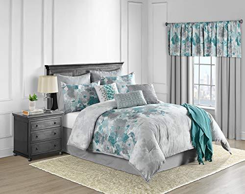 Lanwood Claire Cotton 10-Piece Comforter Set, Queen, Teal Floral