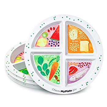Portion Plate For Adults and Teens - Set of 4 Plates -- With Divided Sections - Weight Loss - Portion Control - MyPlate