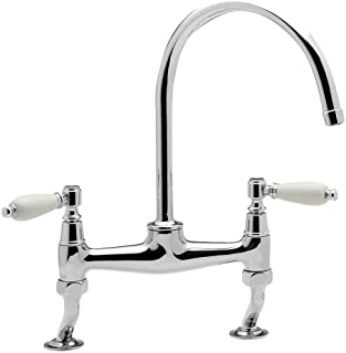 Kitchen Faucet Traditional Kitchen Sink Bridge Mixer Tap With Cranked Legs Brushed Steel Finish Kitchen Sink Faucets Basin Mixer Faucet