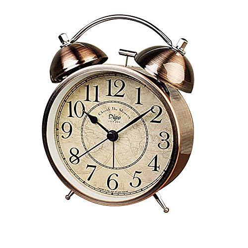 Fozela Vintage Wecker, Classic Bell Alarm Silence Doppelglockenwecker mit Nachtlicht, Geräuschlos, Lautem Alarm und Batteriebetriebene (Nicht im Lieferumfang)