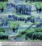 Soimoi Grun Poly Krepp Stoff Baum & Elefant Tier Stoff