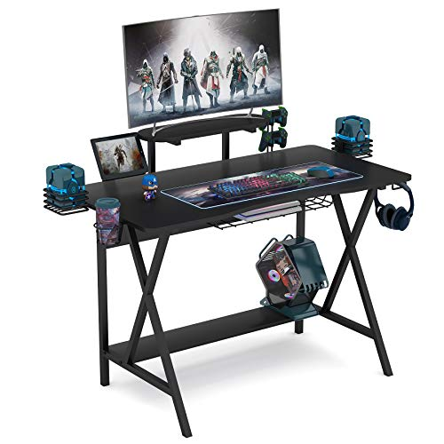 Tribesigns Computer Desk Gaming Desk Writing Workstion Study Desk PC Notebook Laptop Computer Desk Table with Monitor Stand, Shelf Controller Stand Cup Holder Headphone Hook for Home Office (Black)