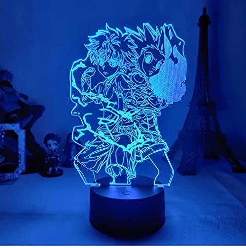 16 colores Gon y Killua figura luz de noche 3D Anime Hunter X Hunter decoración de dormitorio para niños iluminación lámpara de regalo para niños junto a la cama