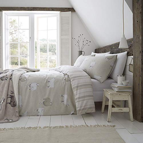 Catherine Lansfield Brushed Cotton Sheep Single Duvet Set Natural