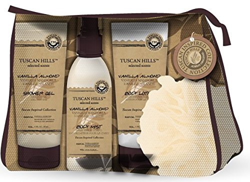Tuscan Hills Vanilla Almond 4 Piece Body Care Set With Travel Case