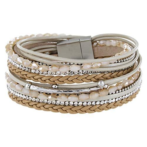 StarAppeal Armband Wickelarmband mit Perlen, Strass, Ketten und Flechtelement, Magnetverschluss Silber Matt, Damen Armband (Hellbraun)