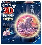 Ravensburger 11843 3D Puzzle Nachtlicht Pferde am Strand - Puzzleball für Kinder ab 6 Jahren, LED...