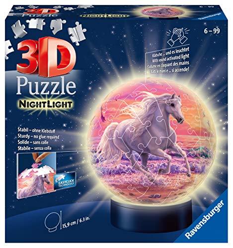 Ravensburger 11843 3D Puzzle Nachtlicht Pferde am Strand - Puzzleball für Kinder ab 6 Jahren, LED Nachttischlampe mit Klatsch-Mechanismus, Schlummerlicht