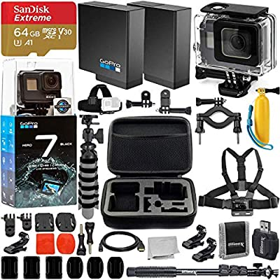 GoPro HERO7 Hero 7 Black Action Camera and Deluxe Accessory Bundle - Includes: SanDisk Extreme 64GB microSDHC Memory Card & Much More from Phoenix Photo