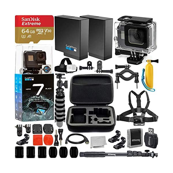 GoPro HERO7 Hero 7 Black Action Camera and Deluxe Accessory Bundle – Includes: SanDisk Extreme 64GB microSDHC Memory Card & Much More