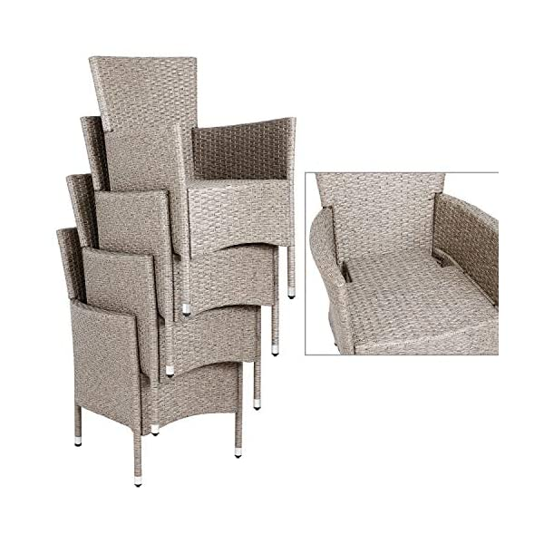Deuba Poly Rattan Sitzgruppe stapelbare Stühle 7cm Auflagen Gartentisch 8 Personen Gartenmöbel Sitzgarnitur Set Schwarz