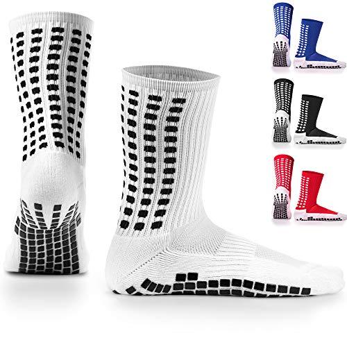 LUX Rutschfeste Fußball Socken, rutschfeste Sport Socken, Gummi-Pads, trusox/tocksox Style, Top Qualität, Basketball, Fußball, Wandern, Laufen, hier in weiß, schwarz, rot, blau Blau blau UK 5.5 - 11 (Weiß - weiß)