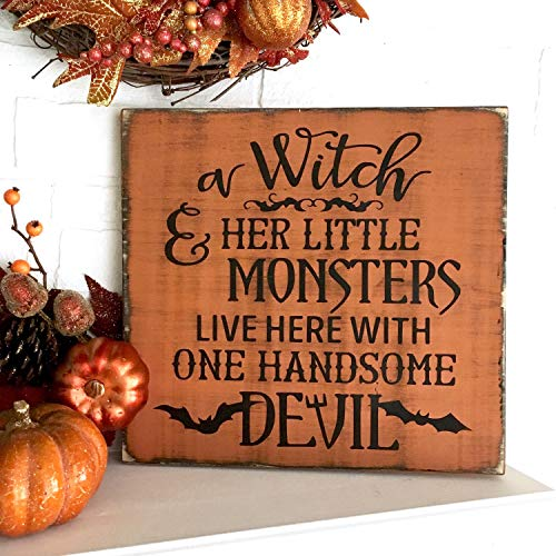 Tiukiu A Witch and Her Little Monsters Live Here with One Handsome Devil Halloween Sign, Funny Halloween Signs, Witch Decorations
